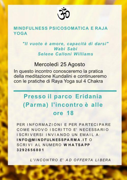 Incontri 25 Agosto Parco Eridania Mindfulness Psicosomatica