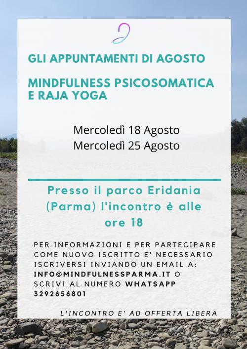 Incontri Agosto Parco Eridania Mindfulness Psicosomatica 18 agosto